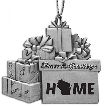 Wisconsin-State Outline-Home-Pewter Gift Package Ornament-Silver