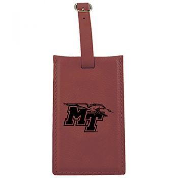 Middle Tennessee State University -Leatherette Luggage Tag-Burgundy