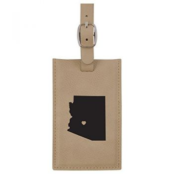 Arizona-State Outline-Heart-Leatherette Luggage Tag -Tan