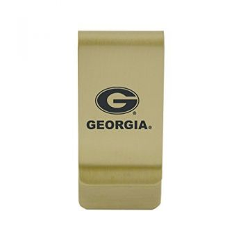Georgia College|Money Clip with Contemporary Metals Finish|Solid Brass|High Tension Clip to Securely Hold Cash, Cards and ID's|Silver