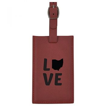 Ohio-State Outline-Love-Leatherette Luggage Tag -Burgundy