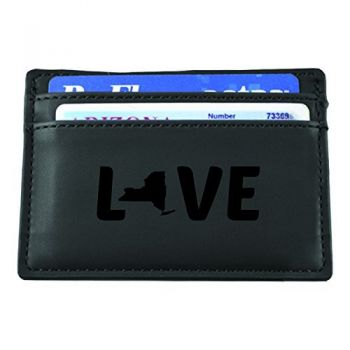 New York-State Outline-Love-European Money Clip Wallet-Black