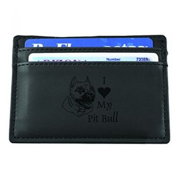 Slim Wallet with Money Clip  - I Love My Pit Bull