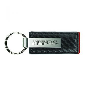 University of Detroit Mercy-Carbon Fiber Leather and Metal Key Tag-Grey