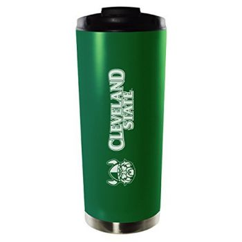 Cleveland State University-16oz. Stainless Steel Vacuum Insulated Travel Mug Tumbler-Green