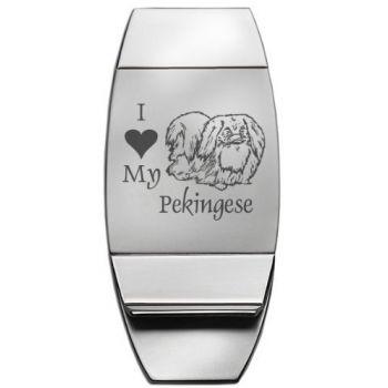 Stainless Steel Money Clip  - I Love My Pekingese