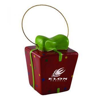 Elon University-3D Ceramic Gift Box Ornament