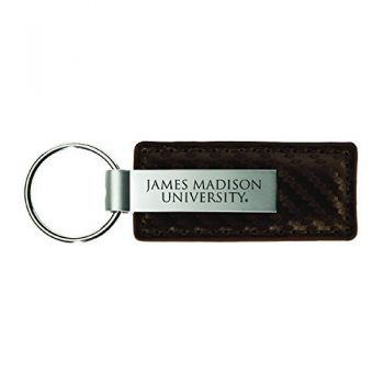 James Madison University-Carbon Fiber Leather and Metal Key Tag-Taupe