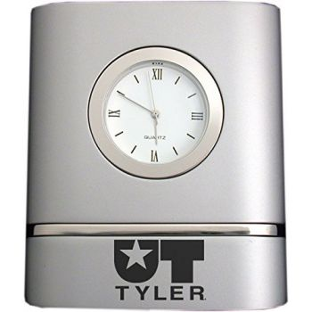 University of Texas at Tyler- Two-Toned Desk Clock -Silver