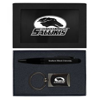 Southern Illinois University -Executive Twist Action Ballpoint Pen Stylus and Gunmetal Key Tag Gift Set-Black