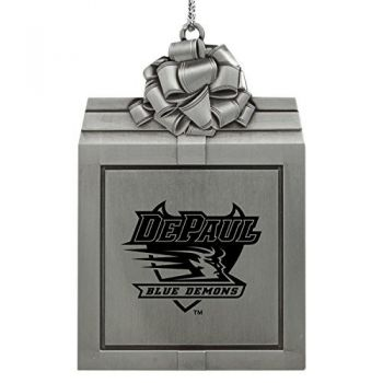 DePaul University -Pewter Christmas Holiday Present Ornament-Silver