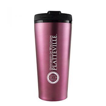 University of Wisconsin-Platteville-16 oz. Travel Mug Tumbler-Pink