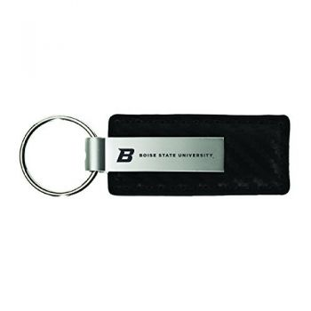 Boise State University-Carbon Fiber Leather and Metal Key Tag-Black