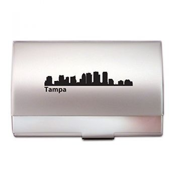Tampa, Florida-Two-Tone Business Card Holder-Silver