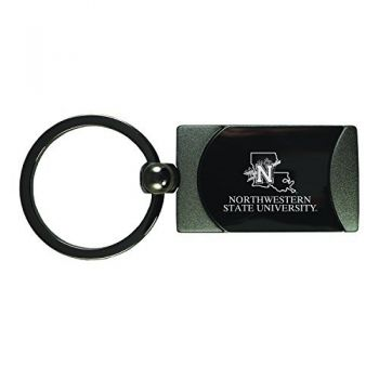 Northwestern State University -Two-Toned gunmetal Key Tag-Gunmetal