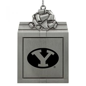 Brigham Young University -Pewter Christmas Holiday Present Ornament-Silver