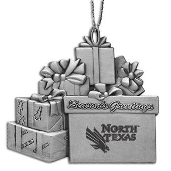 University of North Texas - Pewter Gift Package Ornament