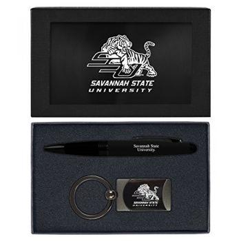Savannah State University -Executive Twist Action Ballpoint Pen Stylus and Gunmetal Key Tag Gift Set-Black
