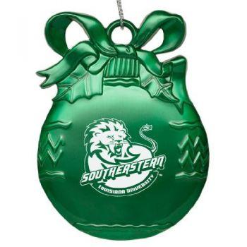 Southeastern Louisiana University - Pewter Christmas Tree Ornament - Green