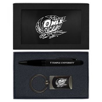 Temple University -Executive Twist Action Ballpoint Pen Stylus and Gunmetal Key Tag Gift Set-Black