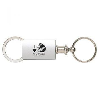 Detachable Valet Keychain Fob  - I Love My Collie