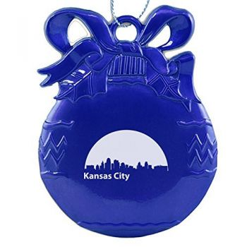 Pewter Christmas Bulb Ornament - Kansas City City Skyline