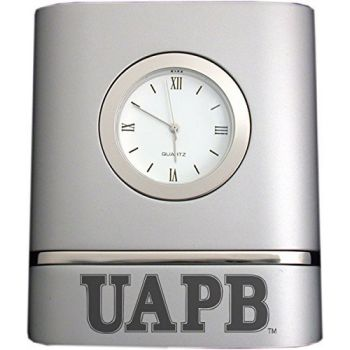 University of Arkansas at Pine Bluff- Two-Toned Desk Clock -Silver
