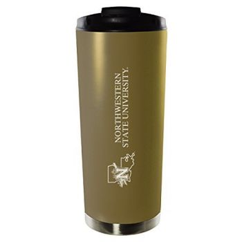 Northwestern State University-16oz. Stainless Steel Vacuum Insulated Travel Mug Tumbler-Gold