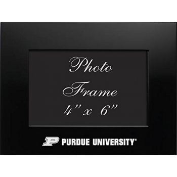 Purdue University - 4x6 Brushed Metal Picture Frame - Black