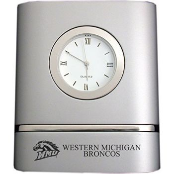 Western Michigan University- Two-Toned Desk Clock -Silver