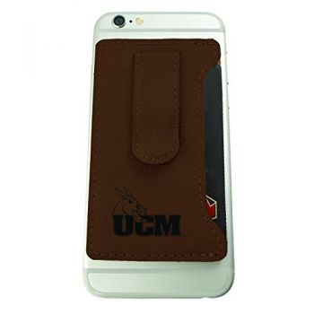 University of Central Missouri -Leatherette Cell Phone Card Holder-Brown