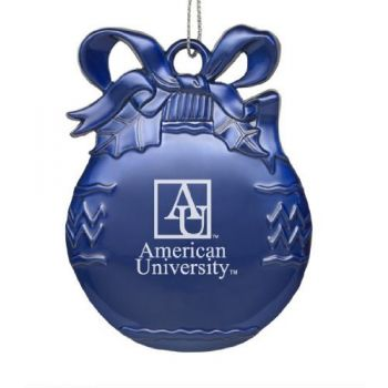 American University - Solid Pewter Christmas Ornament - Blue