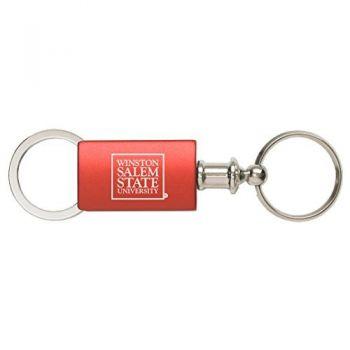 Winston-Salem State University - Anodized Aluminum Valet Key Tag - Red