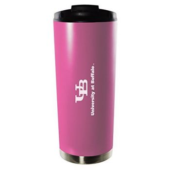 University at Buffalo, The State University of New York-16oz. Stainless Steel Vacuum Insulated Travel Mug Tumbler-Pink