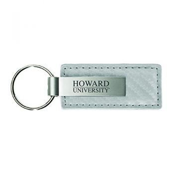 Howard University-Carbon Fiber Leather and Metal Key Tag-White