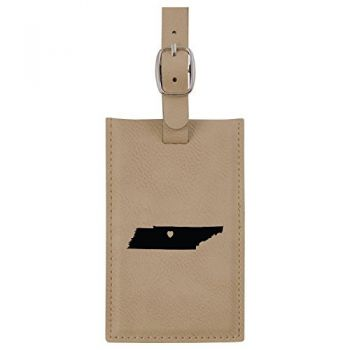 Tennessee-State Outline-Heart-Leatherette Luggage Tag -Tan
