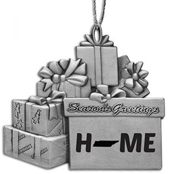 Tennessee-State Outline-Home-Pewter Gift Package Ornament-Silver