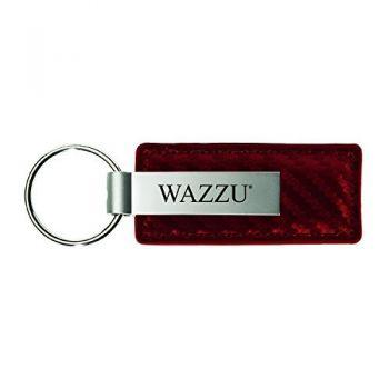 Washington State University-Carbon Fiber Leather and Metal Key Tag-Burgundy