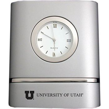 University of Utah- Two-Toned Desk Clock -Silver