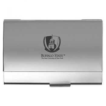 Buffalo State, State University of New York - Two-Tone Business Card Holder - Silver