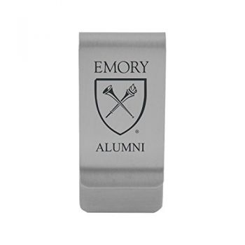 Emory University|Money Clip with Contemporary Metals Finish|Solid Brass|High Tension Clip to Securely Hold Cash, Cards and ID's|Gold