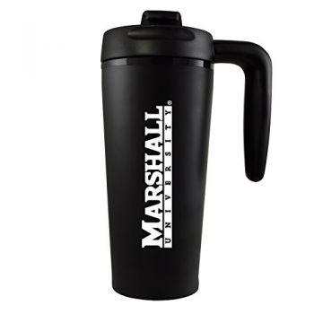 Marshall University -16 oz. Travel Mug Tumbler with Handle-Black