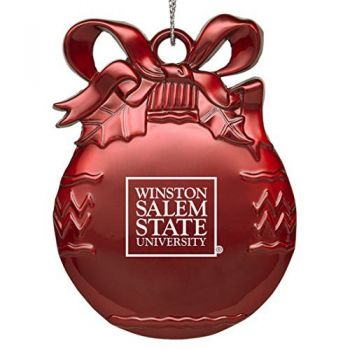 Winston-Salem State University - Pewter Christmas Tree Ornament - Red