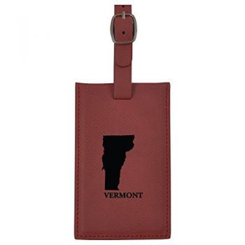 Vermont-State Outline-Leatherette Luggage Tag -Burgundy