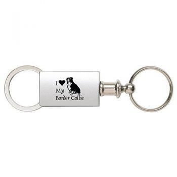Detachable Valet Keychain Fob  - I Love My Border Collie