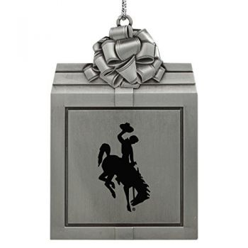 University of Wyoming -Pewter Christmas Holiday Present Ornament-Silver