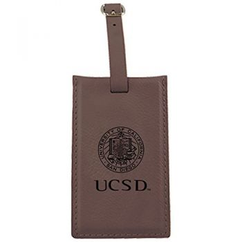 University of California, San Diego-Leatherette Luggage Tag-Brown