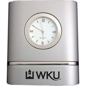 Western Kentucky University- Two-Toned Desk Clock -Silver