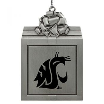 Washington State University -Pewter Christmas Holiday Present Ornament-Silver