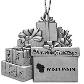 Wisconsin-State Outline-Pewter Gift Package Ornament-Silver